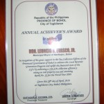 Annual Achiever's Award for Tax Collection Efforts from the Provincial Government of Bohol