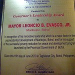 Governor's Leadership Award from the Provincial Government of Bohol