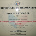 Plaque of Recognition from the Philippine Sports Commission