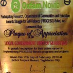 Plaque of Appreciation from PROCESS-Bohol